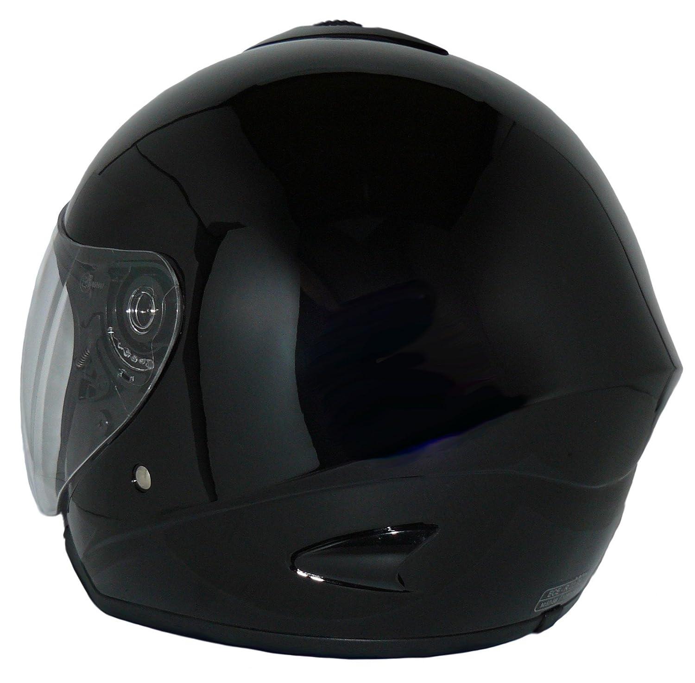 L Protectwear Casco de cara abierta V510 Casco de moto con visera brillante negro