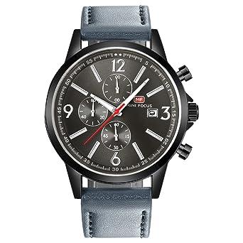 2d82c14f16 MINI FOCUS カジュアル 腕時計 メンズ 革 ベルト シンプル クオーツ ストップウォッチ (グレー ブラック)