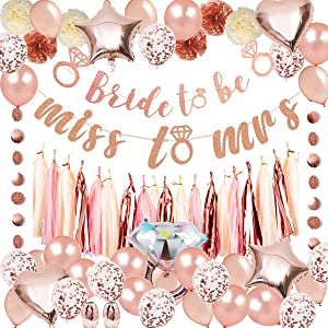Bachelorette Party Supplies - Rose Gold Bachelorette Party Decorations Pack, Including 2 Bridal Shower Banners, a 15 Tissue Tassels Garland, 6 Pom Poms, 20 Latex Balloons, 10 Rose Gold Confetti Balloons, 5 Great Foil Balloons, Dots Garland, 2 Rose Gold Ribbons, Perfect for Bridal Shower