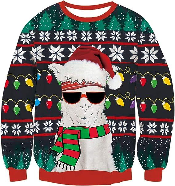 Damen Herren Weihnachten Kapuzenpullover Langarm Pulli 3D Ugly Christmas Hoodie