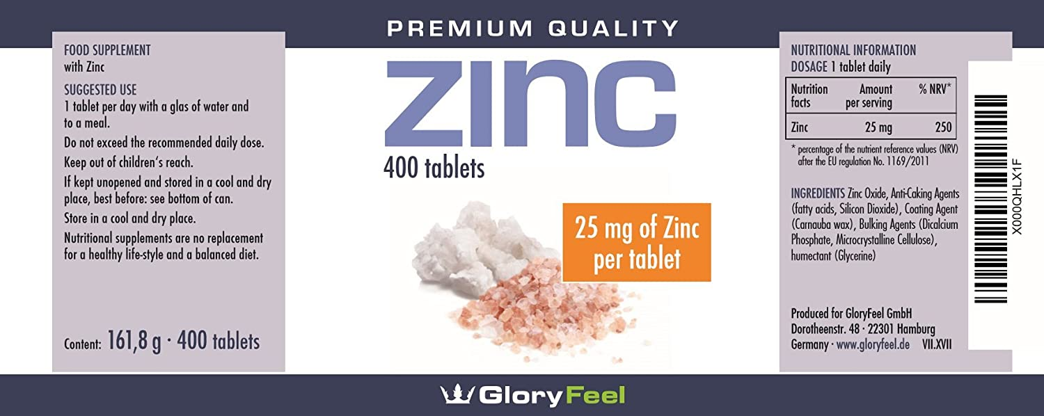 Zinc 400 Tablets High Strength Pure Zinc Supplement 25mg 13