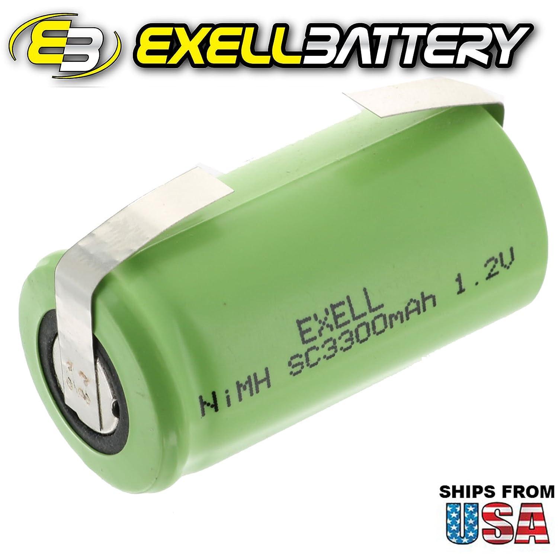 Amazon.com: 5x Exell 1.2V 3300mAh NiMH SubC Size ...