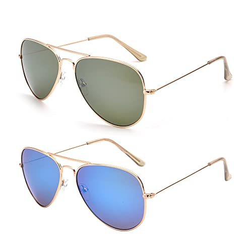 edb5981b6d80e Retro Mirror Aviator Sunglasses Flash Tinted Lens Eyeglasses for Women Men  UV400 2 Pack (Green