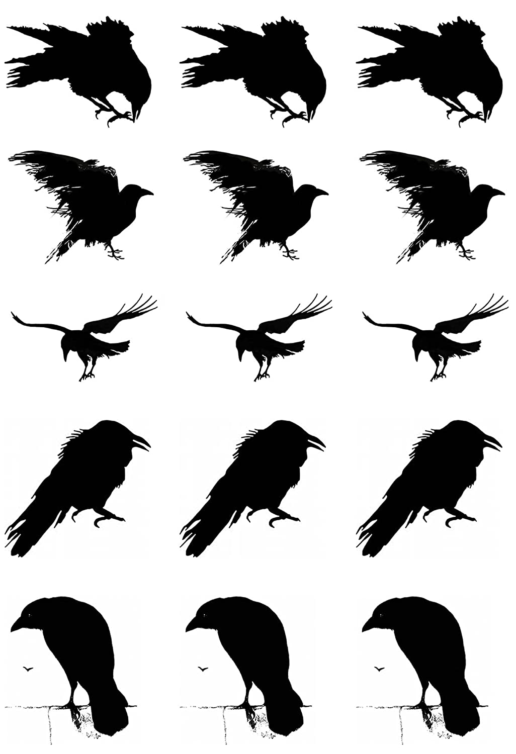 Murder of Crows 1 Black 17CC821 Fused Glass Decals