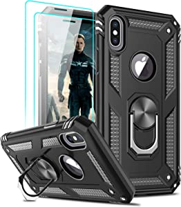 LeYi Compatible for iPhone X Case, iPhone Xs Case with Tempered Glass Screen Protector [2Pack] for Women Men, [Military-Grade] Phone Case with Ring Kickstand for Apple iPhone X/Xs/ 10, Black