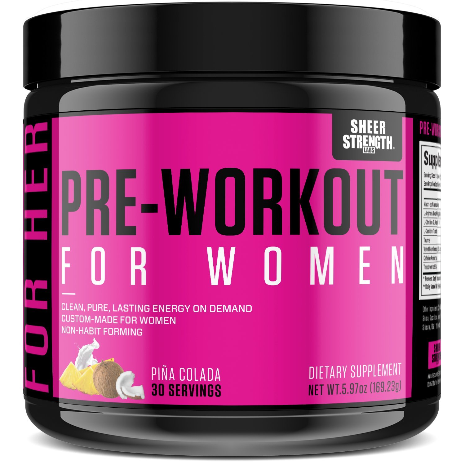 Nitric Oxide Boosting Pre Workout for Women v2 – Breakthrough Energy Supplement with L Arginine Non-GMO and Gluten-Free Sheer Strength Labs, 30 Powder Servings
