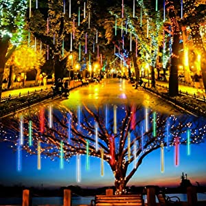 Meteor Shower Lights Christmas Lights LED Falling Rain Lights 30cm 8 Tubes Icicle Snow Raindrop Outdoor String Lights for Christmas Trees Holiday Decoration Wedding Party Patio Garden (Multicolor)