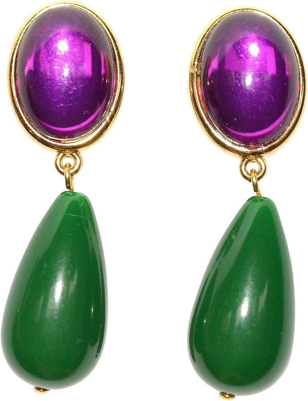 Pendientes de clip de color lila-verde, muy grandes, dorados, con piedra morada, colgante de color verde oscuro con forma de gota, de diseñador JUSTWIN llamativo multicolor