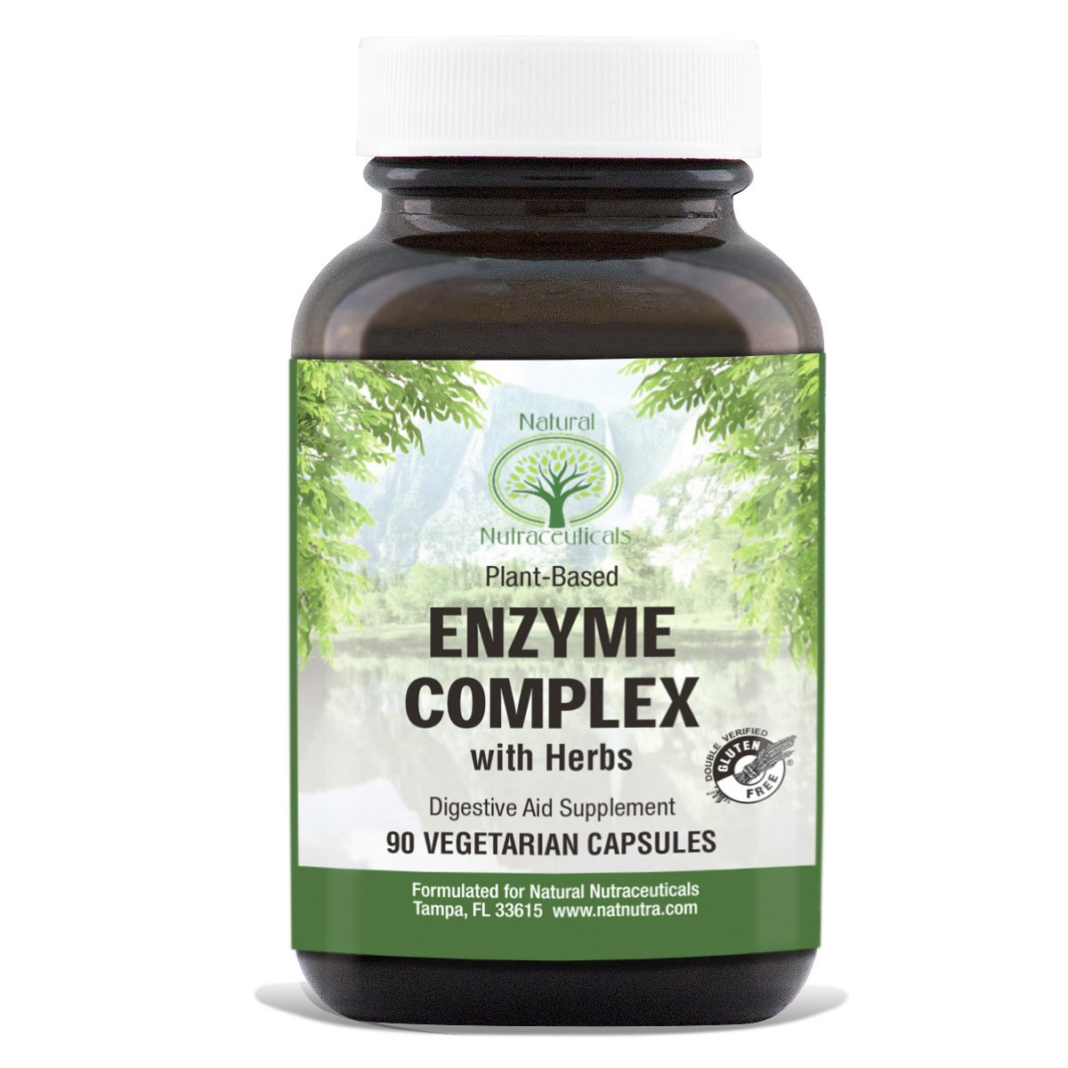 Natural Nutra Digestive Enzyme Complex with Herbs, Amylase, Bromelain, Lipase, Protease, Lactase, Plant Based, 90 Vegan Capsules