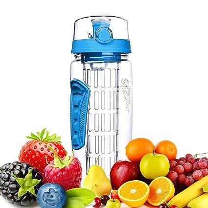 Botella de Agua de Tritan de 1 Litro con Infusor de Frutas sin BPA, Botellas