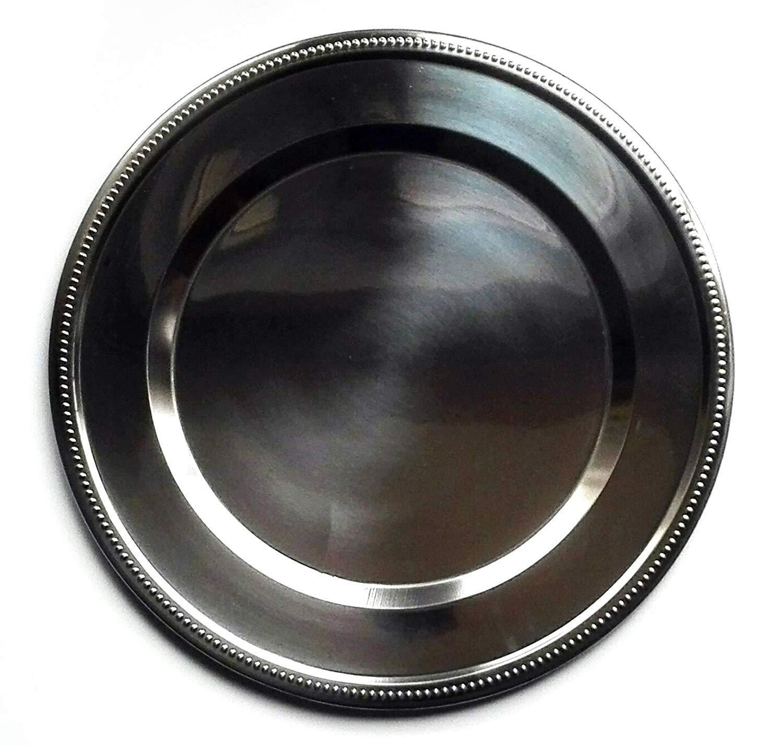 Sottopiatto Rotondo in Acciaio Inox Set da 6 Sottopiatti Argento MGE /Ø 32 cm