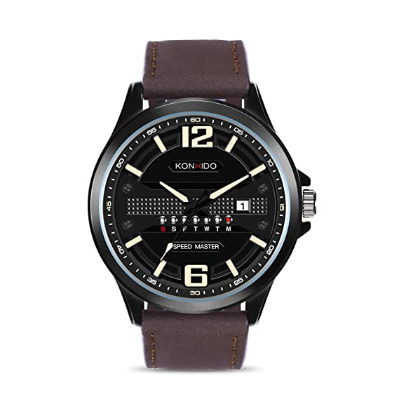KONXIDO Reloj para Hombre Elegante Banda de Cuero Genuino Reloj de Pulsera de Calendario de Fecha