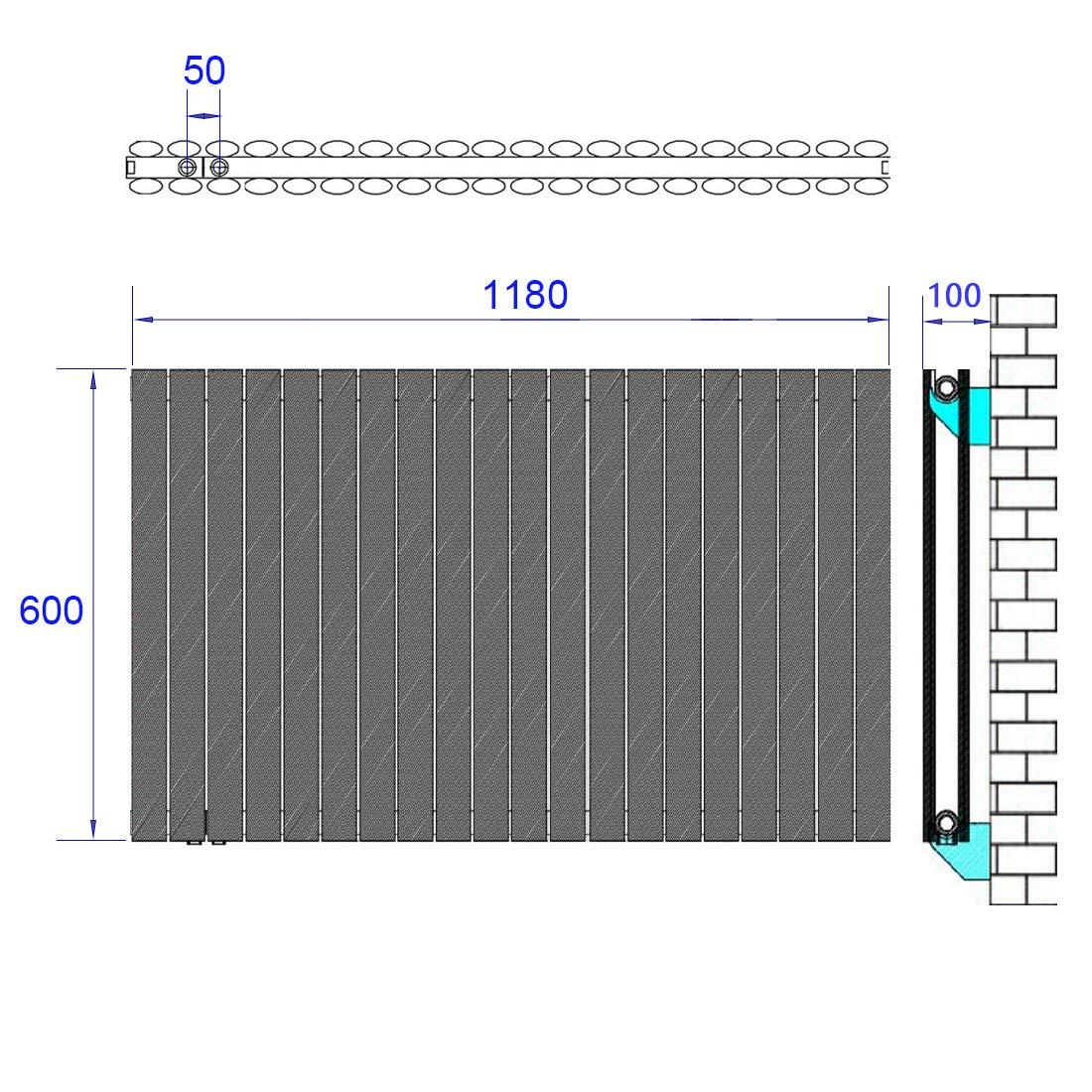 Design Oval Heizk/örper Vertikal Heizk/örper Antrazit 1800 x 480 mm Heizung Mittelanschluss Doppellagig