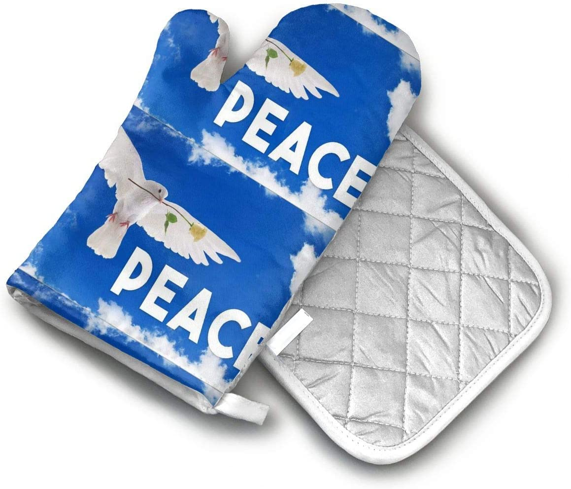 Nylon Peace Dove Flag Made in The USA Oven Mitts and Potholders (2-Piece Sets) - Extra Long Professional Heat Resistant Pot Holder & Baking Gloves - Food Safe