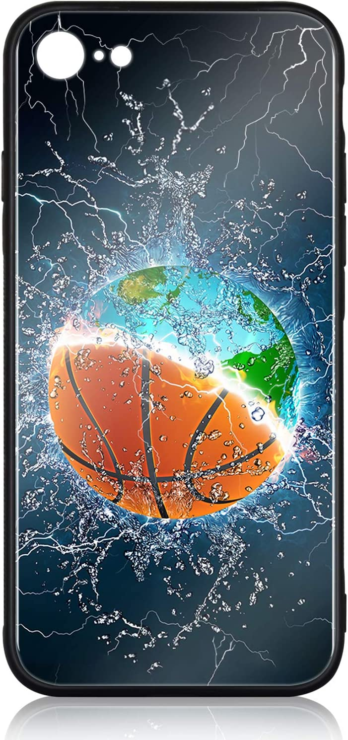 iPhone 8 Case iPhone 7 Case HuntHawk with Anti-Drop TPU Hard PC Scratch-Proof Tempered Glass Protector Cover Fit iPhone 8 Cases 7 Cases for Girls Boys Earth and Basketball in Water