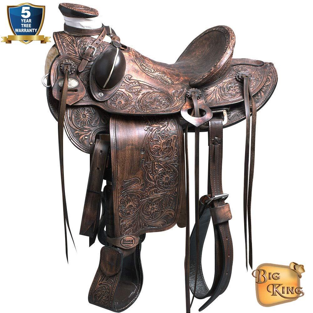 Hilason Big KingシリーズWesternレザーWade Ranchロープ状カウボーイTrail Horseサドル 16 INCHES ブラウン(Rustic Brown) B017JG3HDE