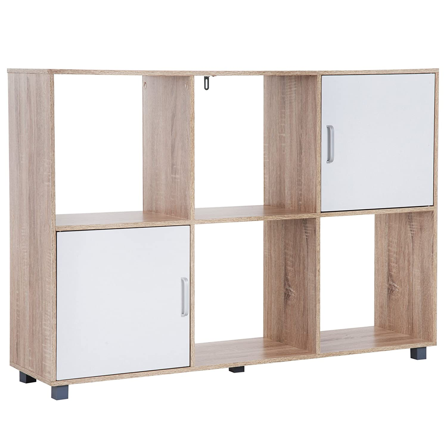 HOMCOM Wooden 6 Cube Storage Cabinet Unit with 2 Doors Bookcase Shelves Organiser Rack Display - Oak,White Sold by MHSTAR