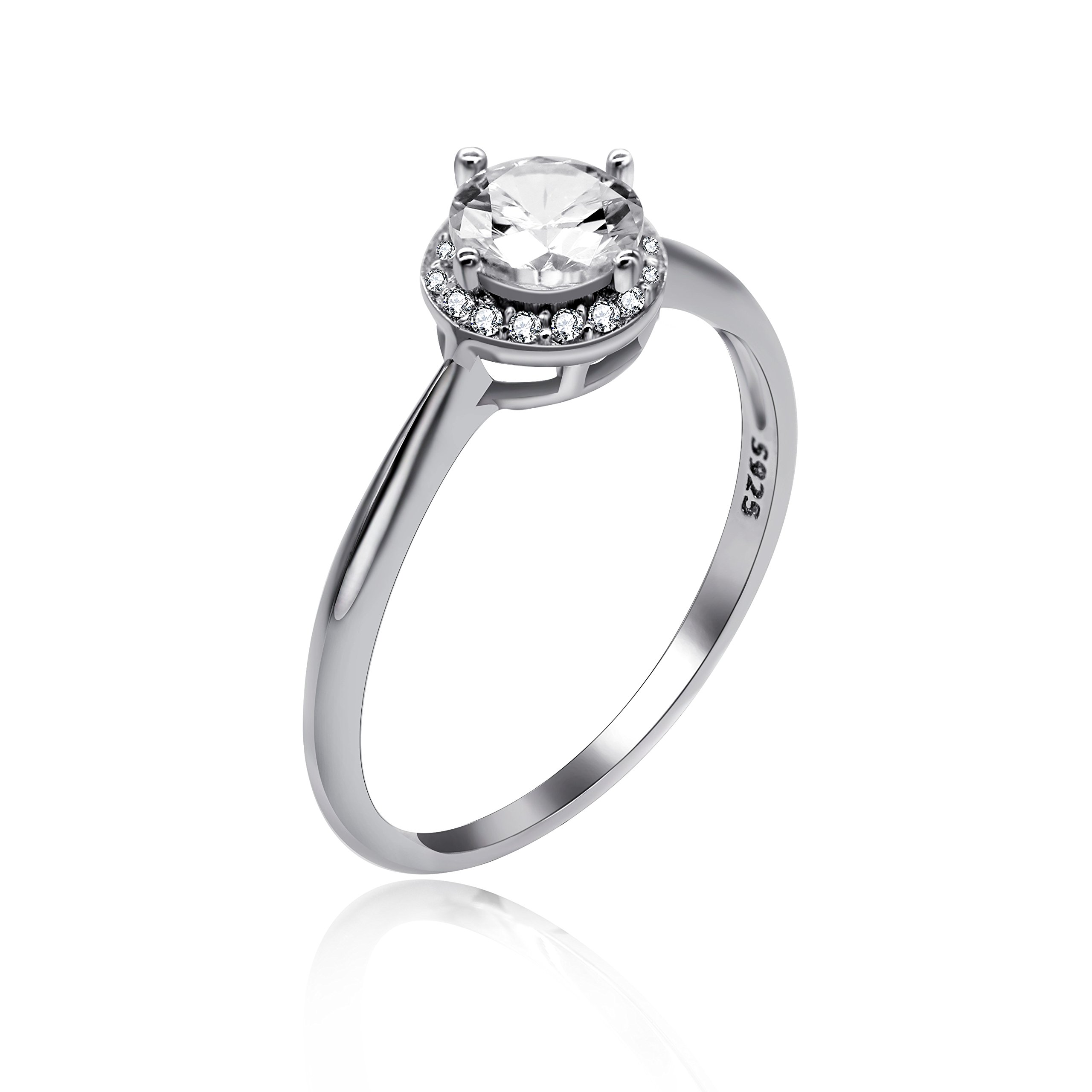 Uloveido Round Brilliant Cubic Zirconia CZ Sterling Silver 925 Wedding Engagement Ring, Ring for Mom 1.54g Size 9 LJ045