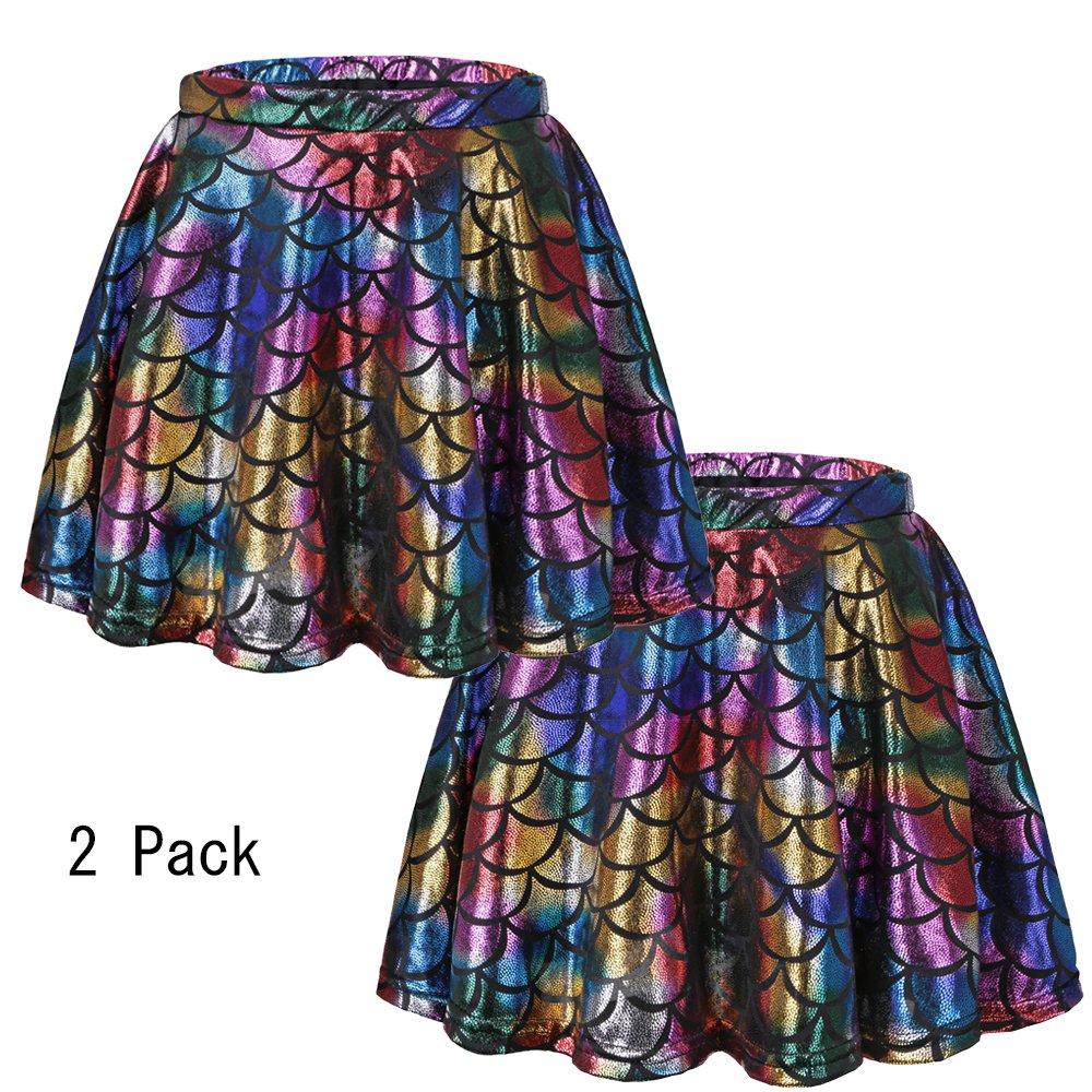 BAOHULU Girls Skirt Fish Scale Dress up Costumes Colorful,M 2Pack by BAOHULU