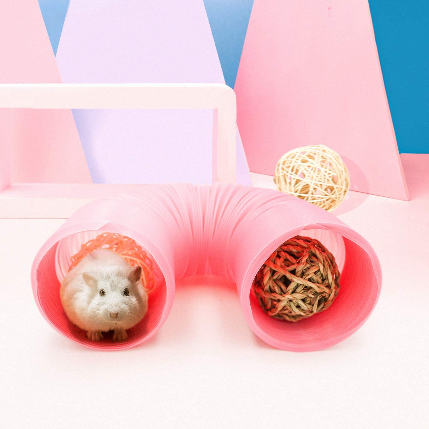 Small Animal Play Tunnel with 3 Pack Play Balls and Apple Sticks Fun Pet Tunnel Hideway for Guinea Pigs Chinchillas Rats and Dwarf Rabbits Collapsible Plastic Guinea Pigs Tube