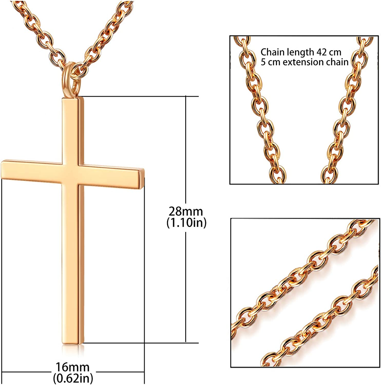 Simple Smooth Cross Pendant Necklace Fashion Jewelry 18-Inch