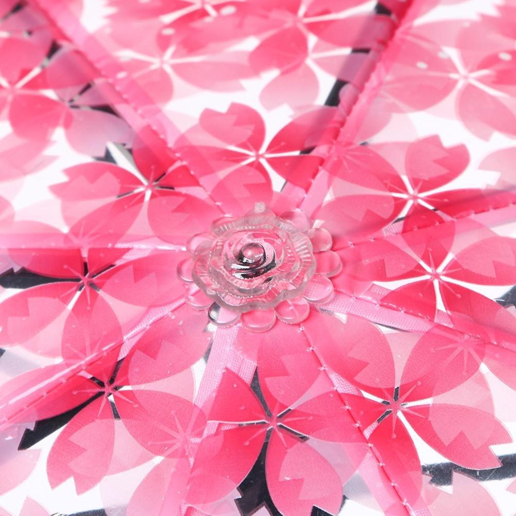 Cherry Blossom Parapluie Transparent Pluie 3 Pliant Sakura Fleur Parapluie Femme Pluie Outils Parasol Soleil Dinglong Parapluie Sakura Apollo Princesse Parapluie