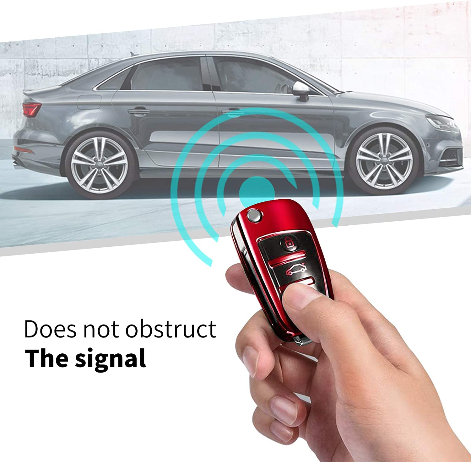 Premium Soft TPU 360 Degree Full Protection Shell Case Compatible with 2018 2019 2020 Audi A3 Q3 Q2L A1 S3 Audi Key Fob Cover Case Black