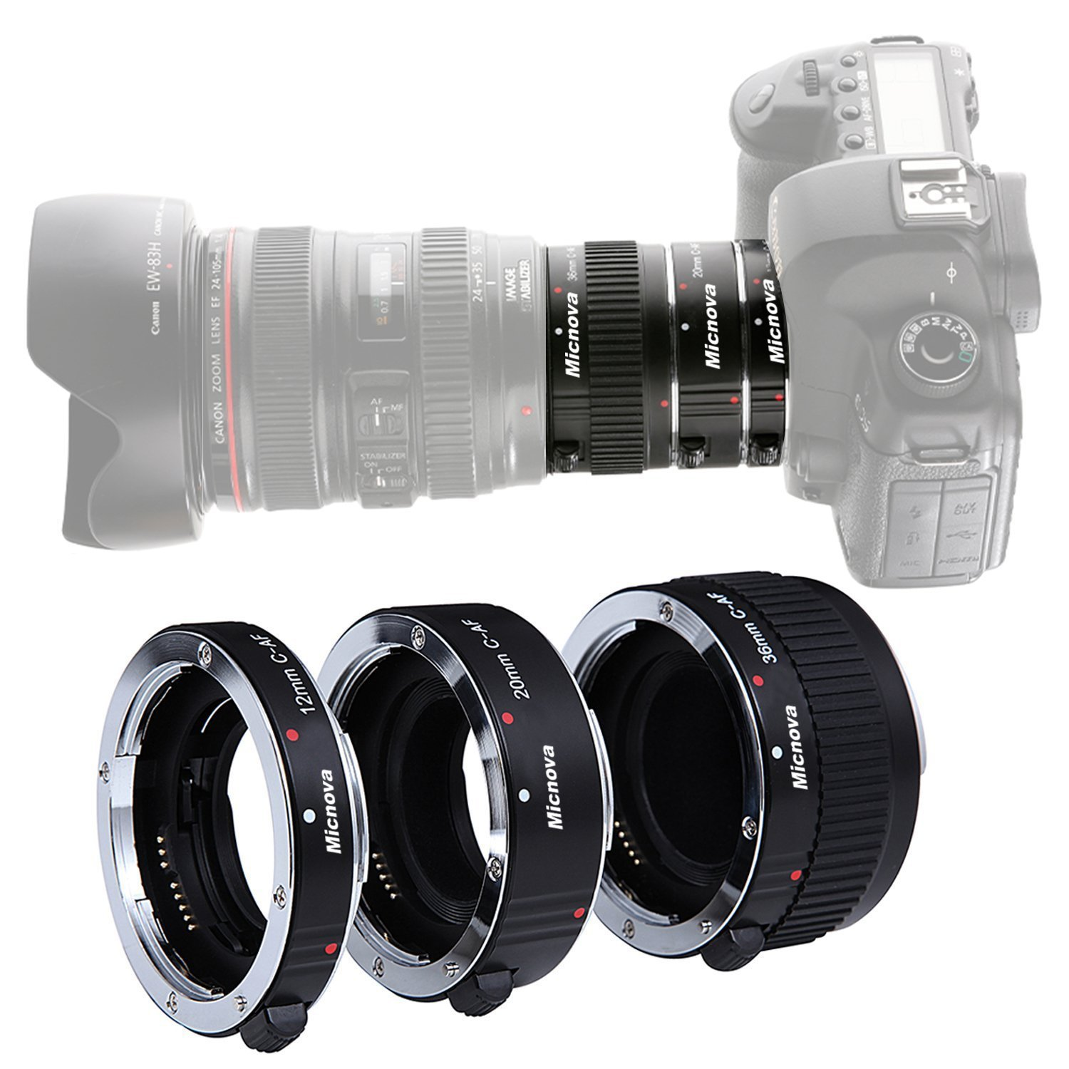 KOOKA KK-C68 Pro Auto Focus Macro Extension Tube Set for Canon EOS EF & EF-S Mount 5D2 5D3 6D 650D 750D With 12mm 20mm and 36mm Tubes by Micnova
