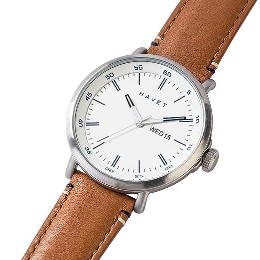 HAVET | Reloj de hombre Stabben de acero con esfera blanca y correa piel marrón: Amazon.es: Relojes