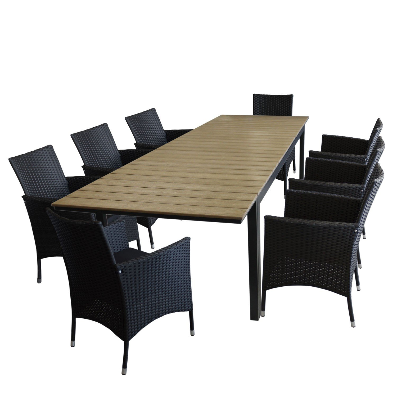 9tlg gartengarnitur gartentisch ausziehbar aluminiumrahmen polywood tischplatte brown grey. Black Bedroom Furniture Sets. Home Design Ideas