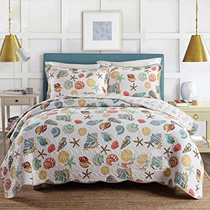 Amazon Com Douh Coral Ocean Bedding Quilt Set Queen Cotton 3 Pieces