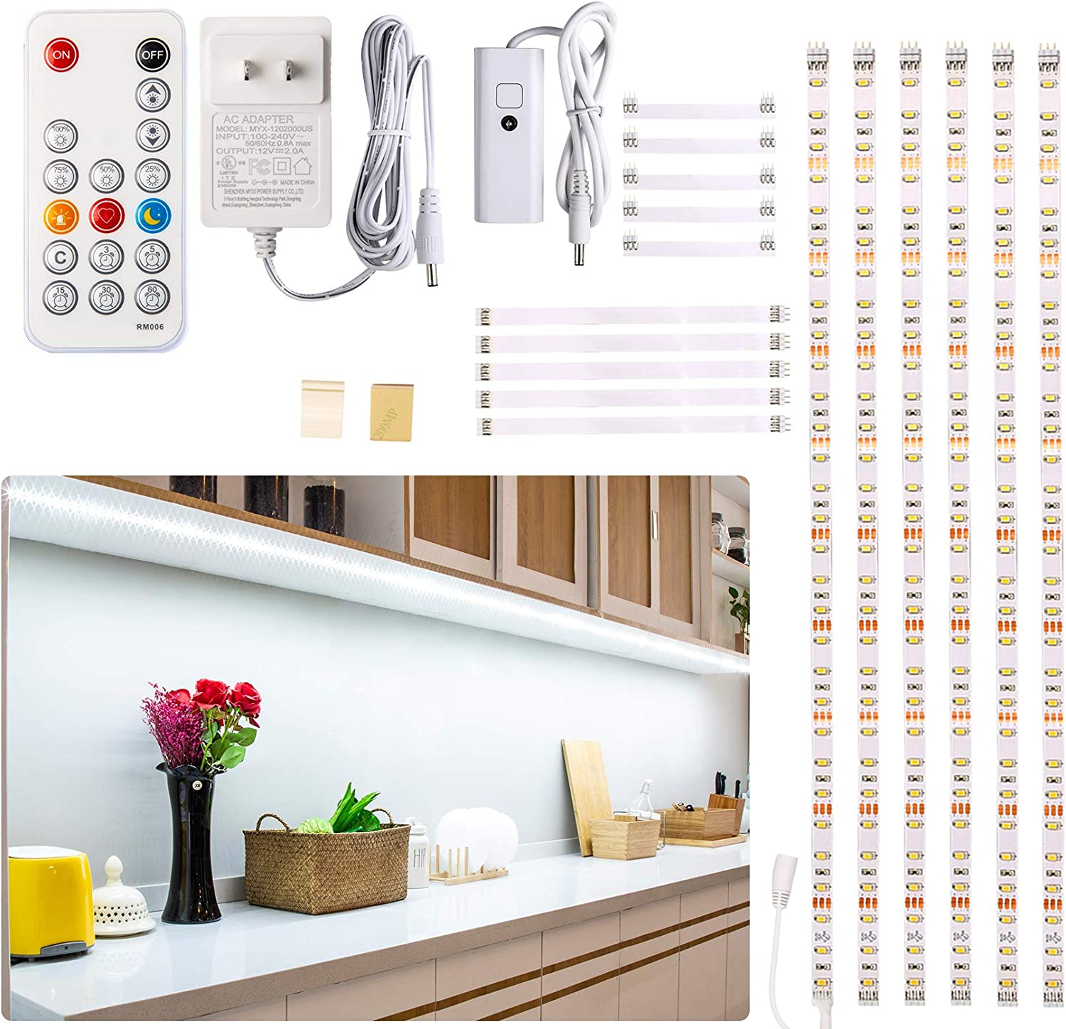 Under Counter Light Dimmable Led Under Cabinet Lighting 6 Pcs Led Strip Light Bars With Remote Control For Kitchen Shelf Pantry Showcase Desk Cupboard 6000k White Timing 16w 1500lm 9 8 Ft Amazon Com