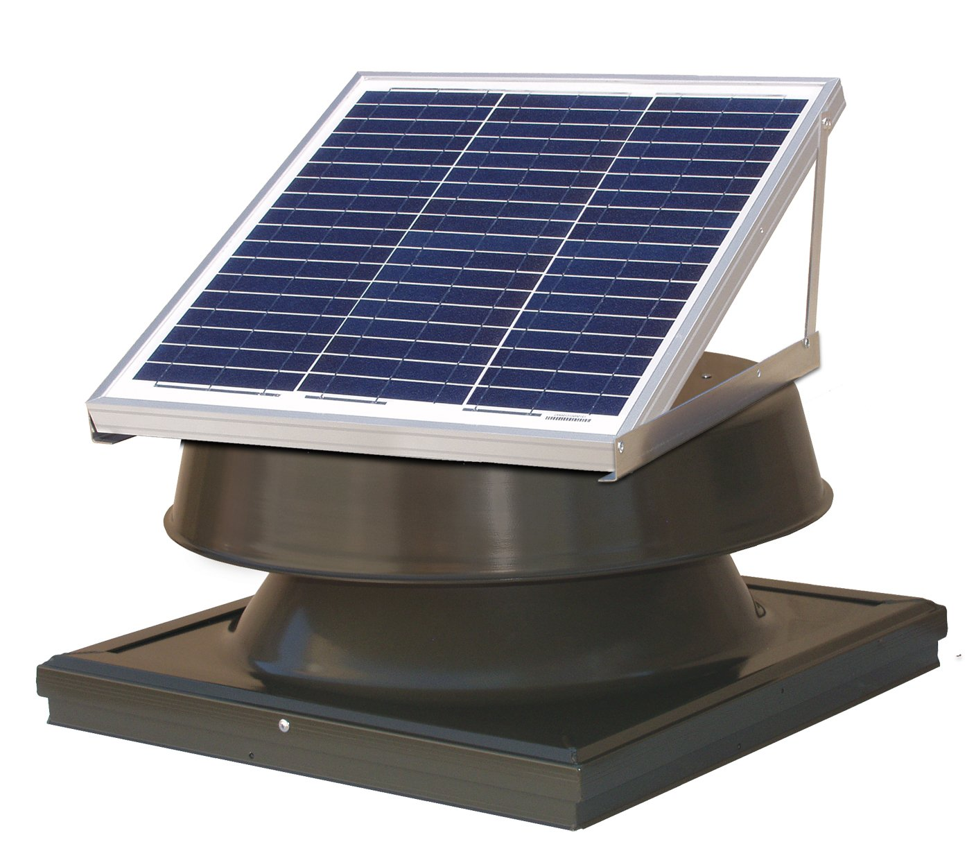 Natural Light 36-Watt Curb Mount Solar Attic Fan - Bronze