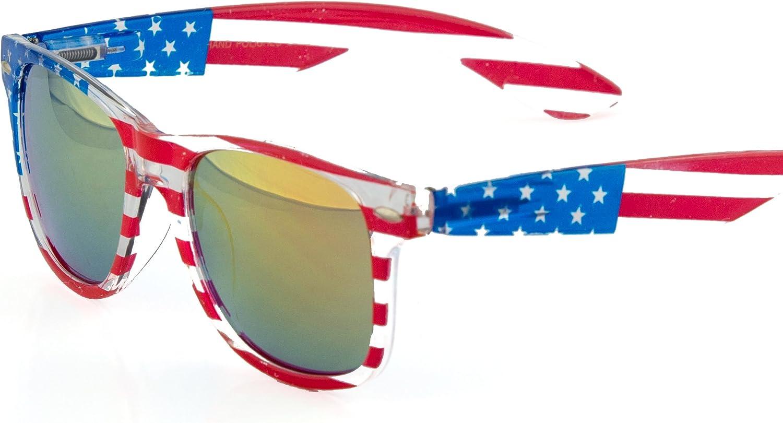 MLC EYEWEAR USA Transparent American Flag Horn Rimmed Sunglasses