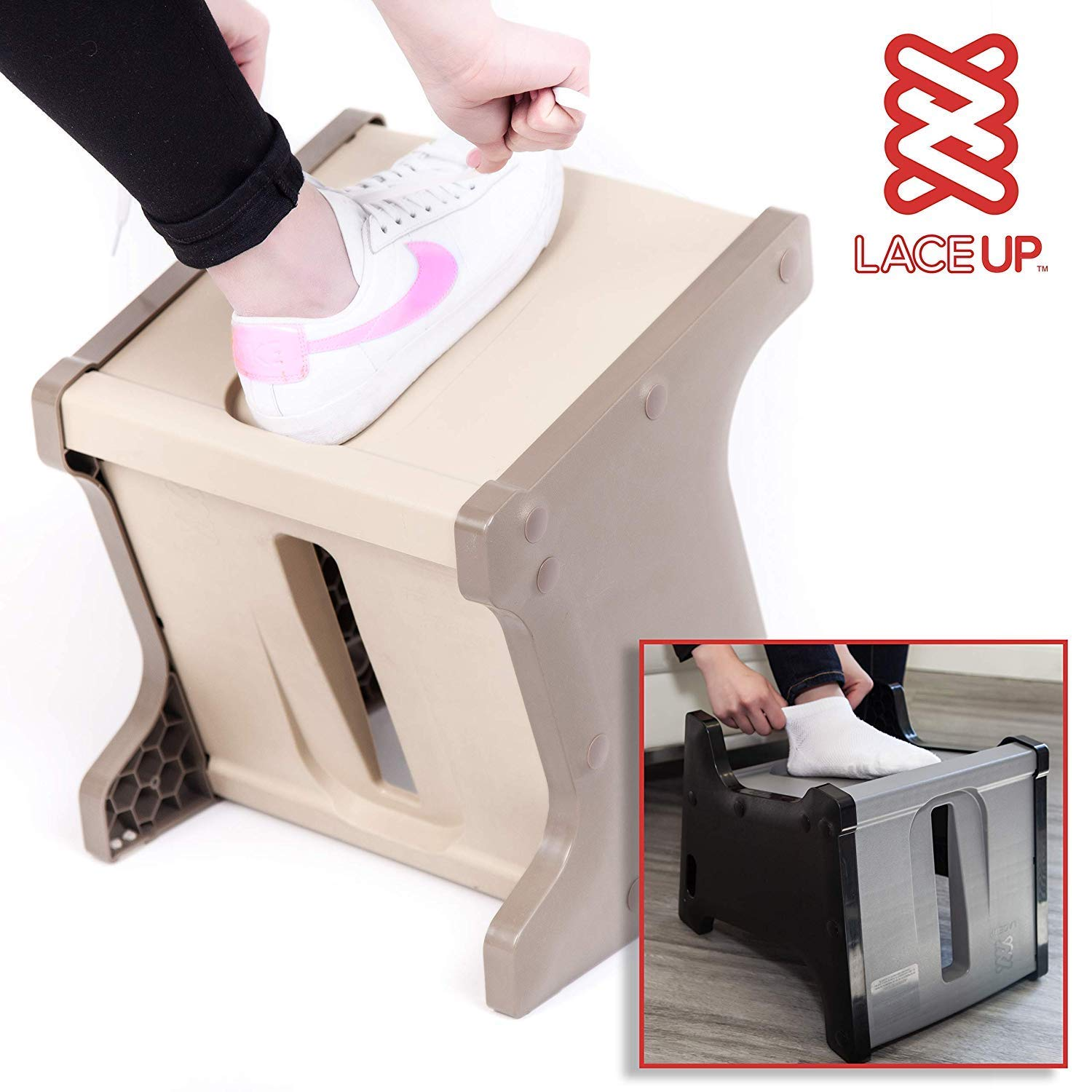 Practice Good Ergonomics with LaceUP . Makes Lacing up your foot wear easy. Don't bend over. Hip Replacement recovery. Mobility Aid. Footcare/pedicure. Sock Aid! Brings your foot within reach