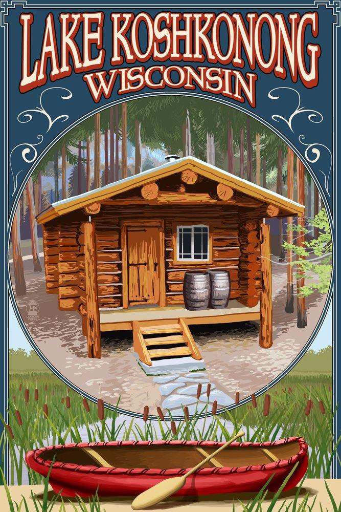 Lake Koshkonong, Wisconsin - Cabin in Woods (9x12 Art Print, Wall Decor Travel Poster)
