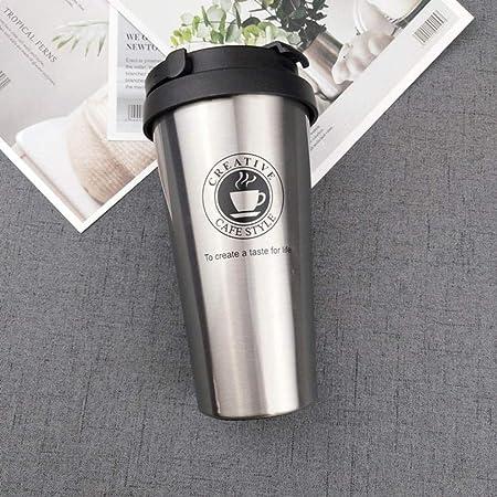 KUANHAO Taza de café de Viaje Termo de Acero Inoxidable Tazas de Vaso Frasco de vacío Termo Botella de Agua Taza de té Thermocup, Plata con asa, España: Amazon.es: Hogar
