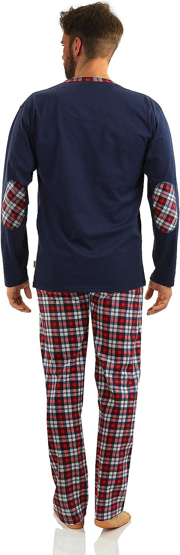 Sesto Senso/® Herren Schlafanzug Lang Pyjama 100/% Baumwolle Langarm Shirt mit Tasche Pyjamahose Zweiteilig Set Bunt Nachtw/äsche