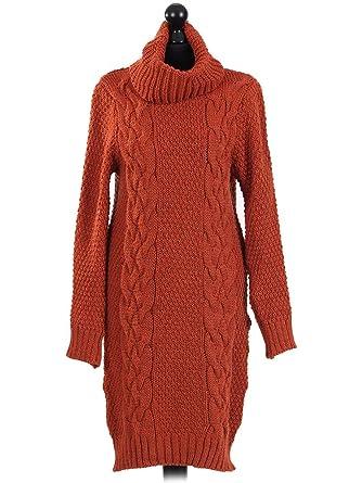 c05facf71979 Un-Poco Mustard Teal Burnt Orange Mohair Wool Blend Chunky Cowl Neck Cable Knit  Jumper Sweater Dress (Burnt Orange)  Amazon.co.uk  Clothing