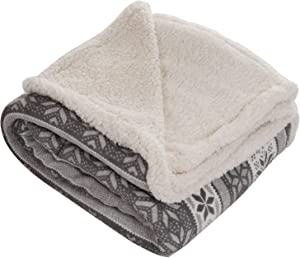 Lavish Home Throw Blanket, Fleece/Sherpa, Silver Stars