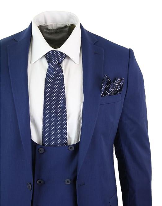 Abito Slim Fit Uomo 3 Pezzi Gilet a Doppio Petto Blu Navy Elegante Classico  Vintage Ufficio  Amazon.it  Abbigliamento a9a9444492c