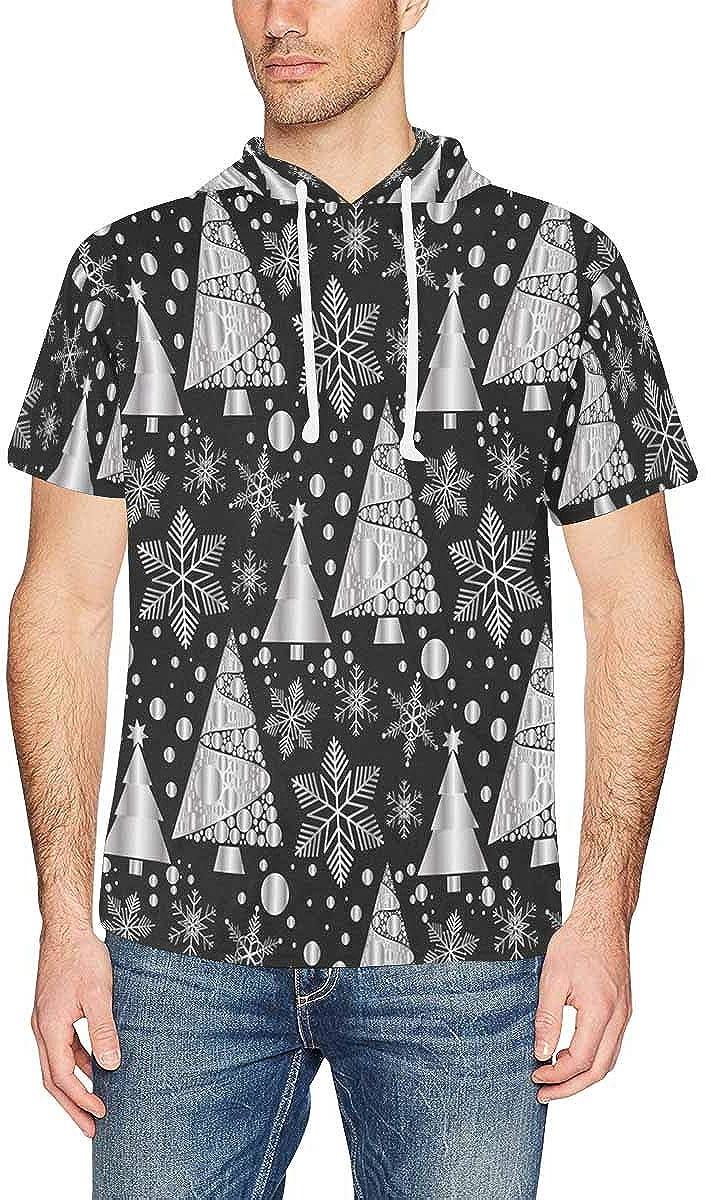 XS-2XL INTERESTPRINT Mens Short Sleeve Hoodies Pullover Snowflake Winter Chrisatmas Fashion Drawstring Shirts