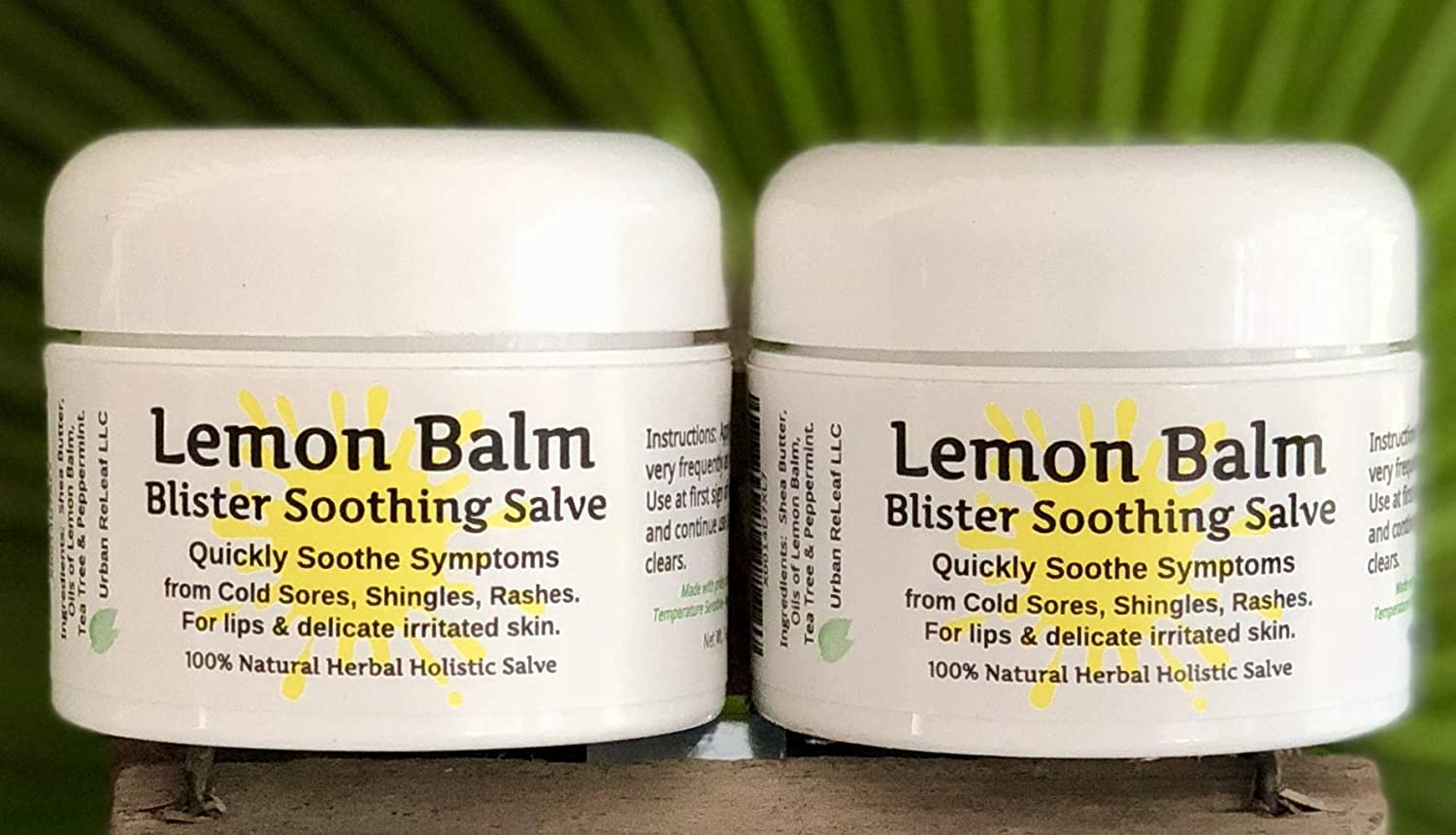 """Urban ReLeaf Lemon Balm Cold Sore & Shingles Salve! 1 Oz, Quickly Soothe Blisters, Rashes, Bumps, Bug Bites, Chicken Pox. Suppress outbreaks. 100% Natural""""Goodbye, Itchy red Bumps!"""" (2)"""