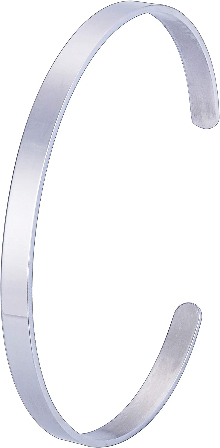 QX-Jewelry Cuff Bangle Bracelet Personalized Custom Engraving Initial Name Date Stainless Steel Cuff Bangle Bracelet Polished Open Cuff Bangle Bracelets