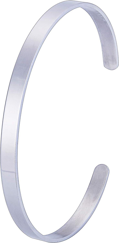 Cuff Bangle Bracelet Personalized Custom Engraving Initial Name Polished Open Cuff Bracelets