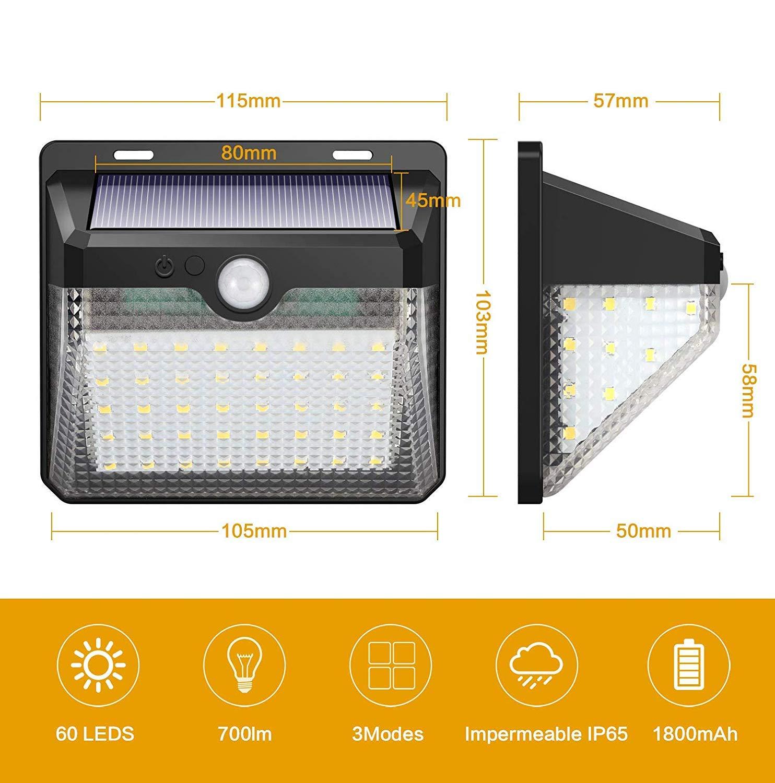 Luz Solar Jard/ín Patio Camino Kilponen 60LED Foco Solar Exterior con Sensor de Movimiento Impermeable Inal/ámbrico 2000mAh L/ámpara Solar Pared Seguridad 3 Modos Inteligente para Garaje