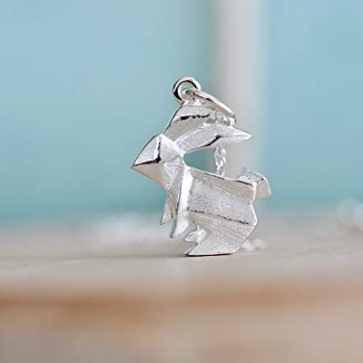 Origami Bunny Rabbit Necklace in Sterling Silver with 16 Inch Chain