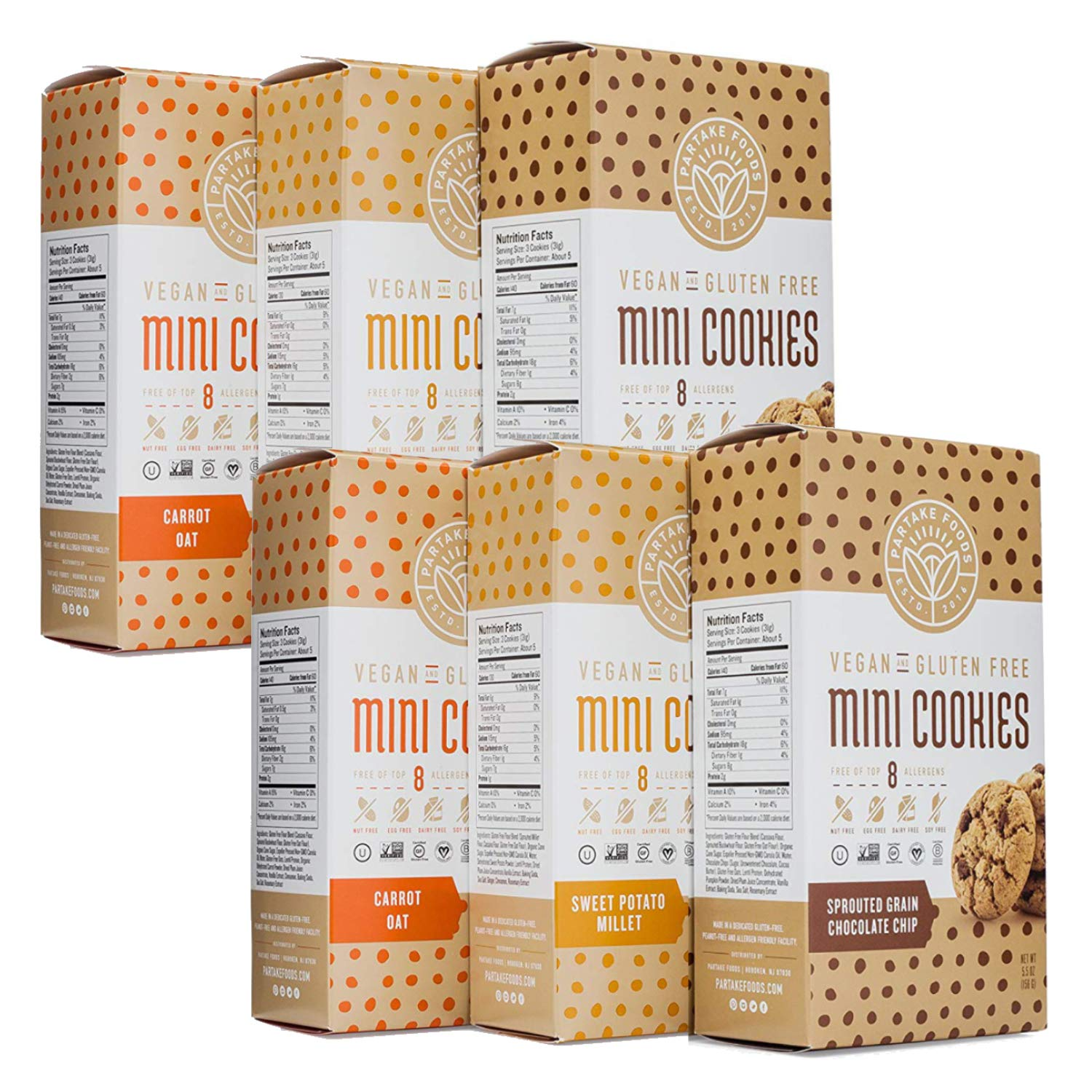 Partake Foods Crunchy Mini Cookies, Combo Snack Pack, Chocolate Chip, Sweet Potato Millet, Carrot Oat, Vegan, Nut Free, Gluten Free, Free of Top 8 Allergens, Safe for the School Yard (6 Boxes) by Partake Foods