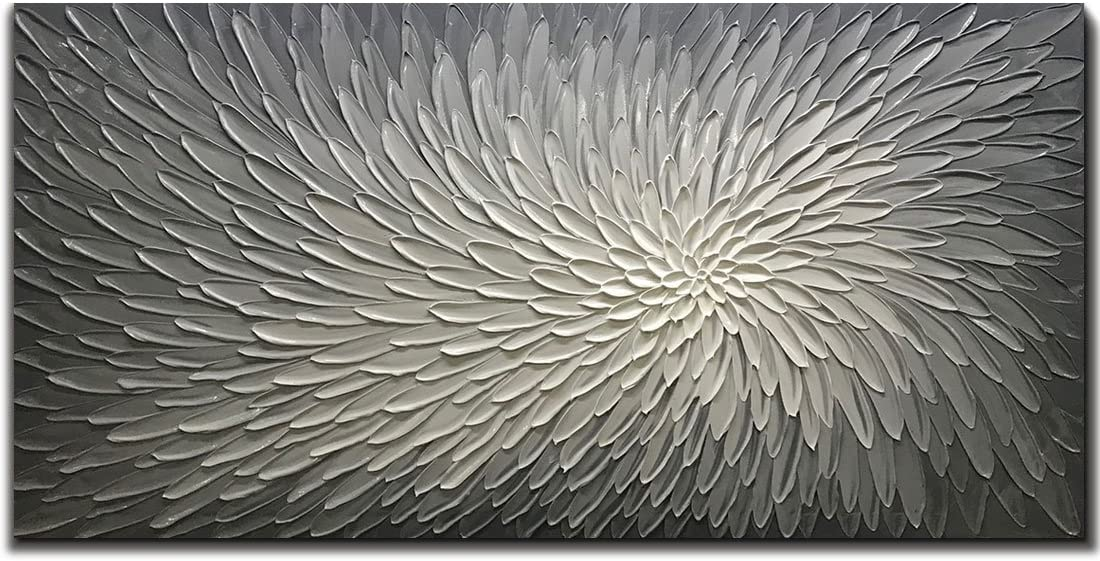 Amei Art Paintings, 24X48 Inch Paintings Oil Hand Painting 3D Hand-Painted On Canvas Abstract Artwork Art Wood Inside Framed Hanging Wall Decoration Abstract Painting Silver
