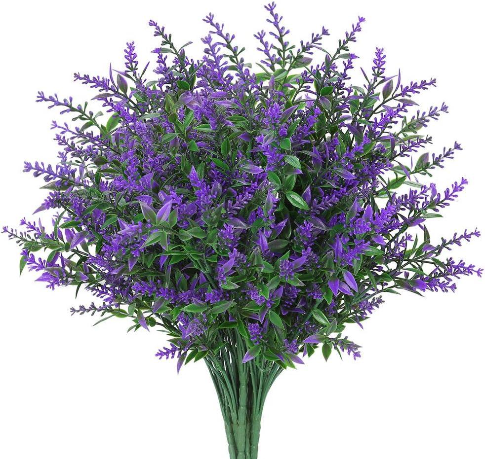 8 Bundles Artificial Lavender Flowers Outdoor Fake Flowers for Decoration UV Resistant No Fade Faux Plastic Plants Garden Porch Window Box Décor (Purple)